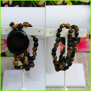 Tiger's Eye and Onyx Three Strand Bracelet